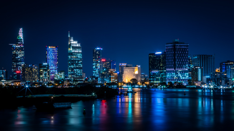 Saigon Skyline by Night | Ho Chi Minh City, Vietnam by Robert Metz