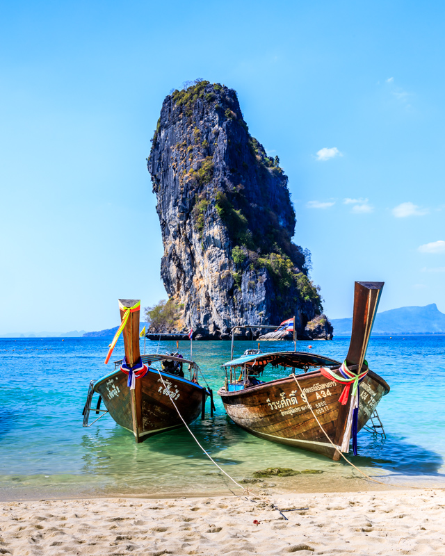 Longtailboats at the Beach | Koh Poda, Thailand by Robert Metz